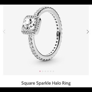 Pandora square sparkle halo ring Sz 5